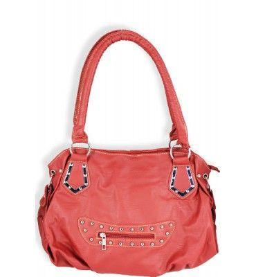 Front Zipper Fashion Shoulder Purse Red