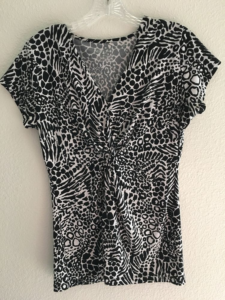 Merona Animal Print Black/White Blouse Knot Front SZ S