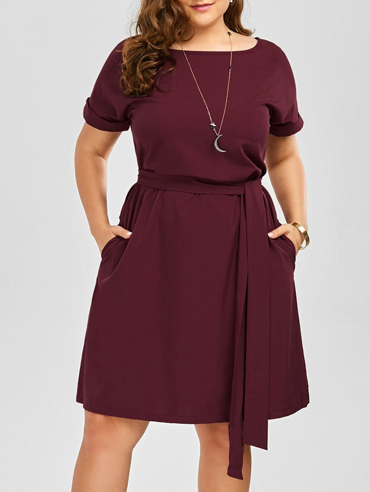 plus size belted knee length dress with pockets in wine red