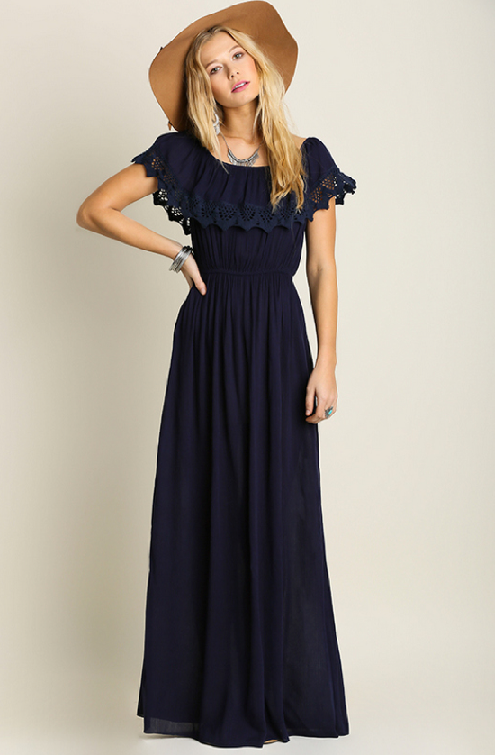 Ruffled Detail Fit & Flair Boho Maxi Dress – Thistle & Finn ...