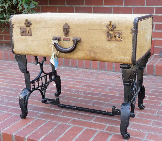 Vintage Suitcase Coffee Table With Antique Sewing Machine Base Legs    Vintage Travelaire Luggage