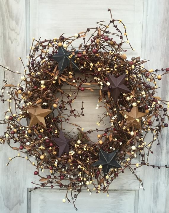 Photo of Patriotic Wreath with Barn Stars, Primitive Americana Wreath, Holiday Wreath,4th of July Wreath, Country Wreath, Rustic Decor ,FREE SHIPPING