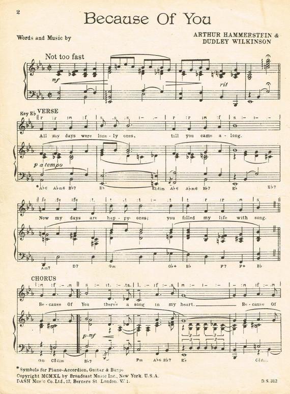 Because Of You. Vintage Sheet Music #vintagesheetmusic