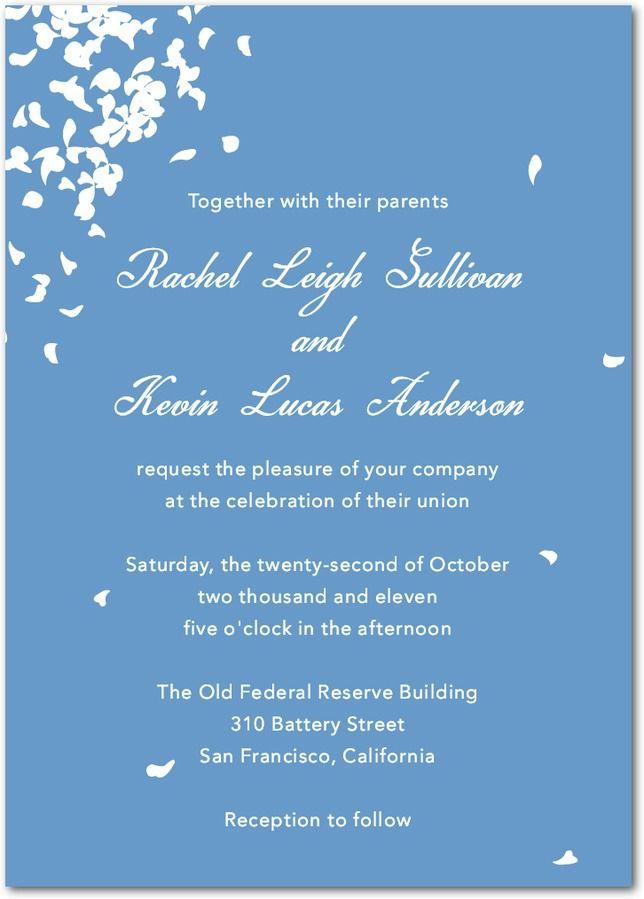 Falling White Petals - Signature Wedding Invitations in Black ...