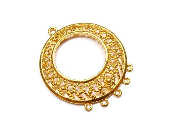 Round filigree chandelier earring component pendant 1 piece 24k round filigree chandelier earring component pendant 1 piece 24k gold plated earring components with multiple loops cstg013 products pinterest mozeypictures Gallery