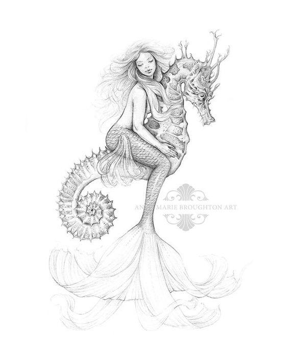 8x10 inch PRINT Mermaid Riding Seahorse Art Pencil Drawing Tattoo ...