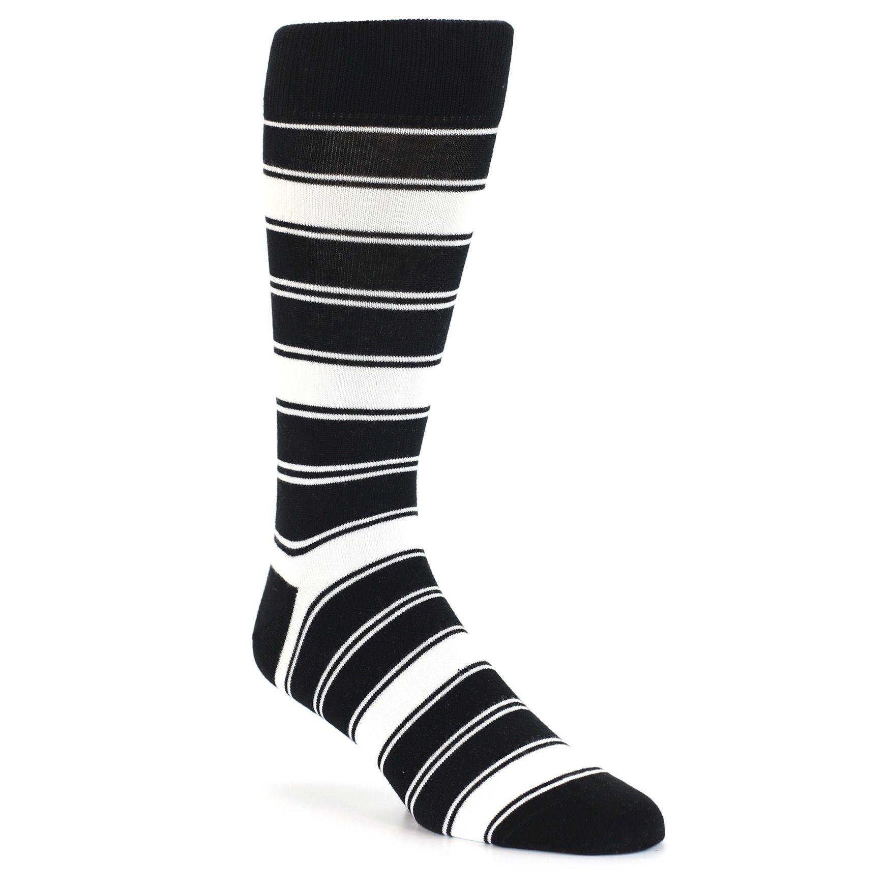 Black White Stripe Men S Dress Socks Boldsocks Mens Dress Socks Funky Socks For Men Black White Stripes [ 1750 x 1750 Pixel ]