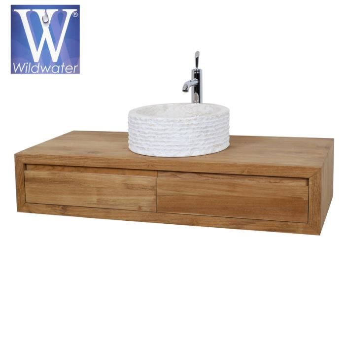 Meuble de salle de bain suspendu en teck 120 cm - Cube - Meuble de - Sol Teck Salle De Bain