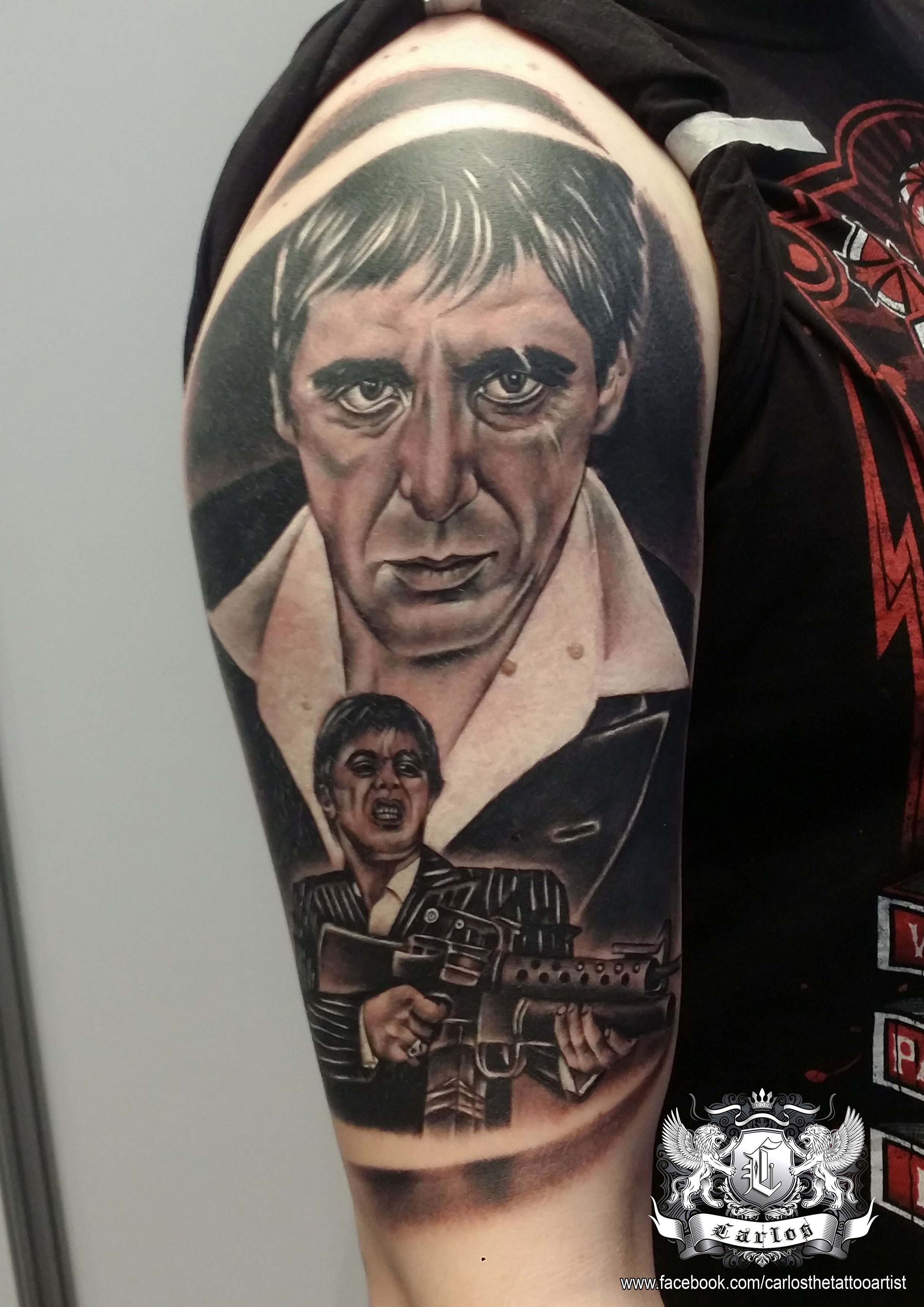 Tony Montana, Al Pacino, Black and Grey tattoo, Realistic tattoo ... - Tattoo Studio Freiburg