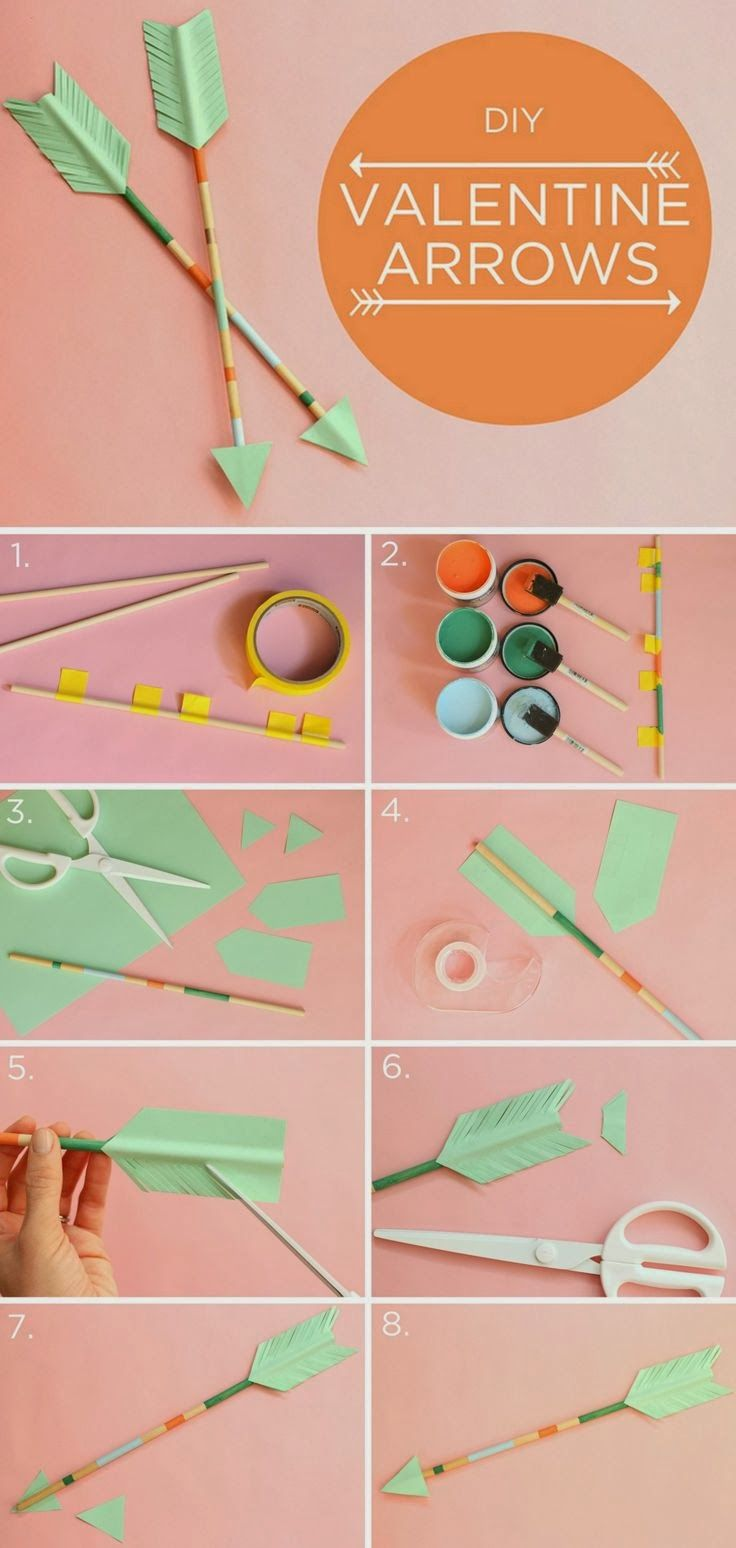 Feathered Arrows DIY Valentines Art project-with pencils