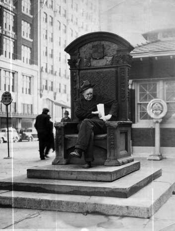 """The Cadillac Chair statue was the city's 200th birthday present to itself. Unveiled in 1901, by 1941, it had become a favorite resting place for vagrants and was destroyed that year. This quirky monument is one of 15 lost landmarks chronicled in """"Forgotten Landmarks of Detroit"""" by Dan Austin (History Press, $22.99, 263 pages)."""