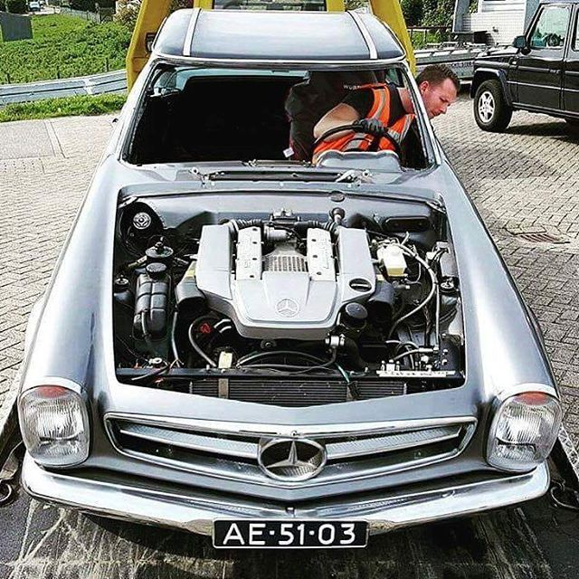 What on earth is under the bonnet picture courtesy of mercedes check out this vintage pagoda with a very modern mercedes engine swap sciox Images