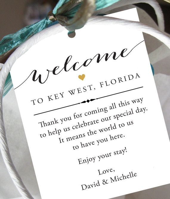Gift Tags For Wedding Hotel Welcome Bag