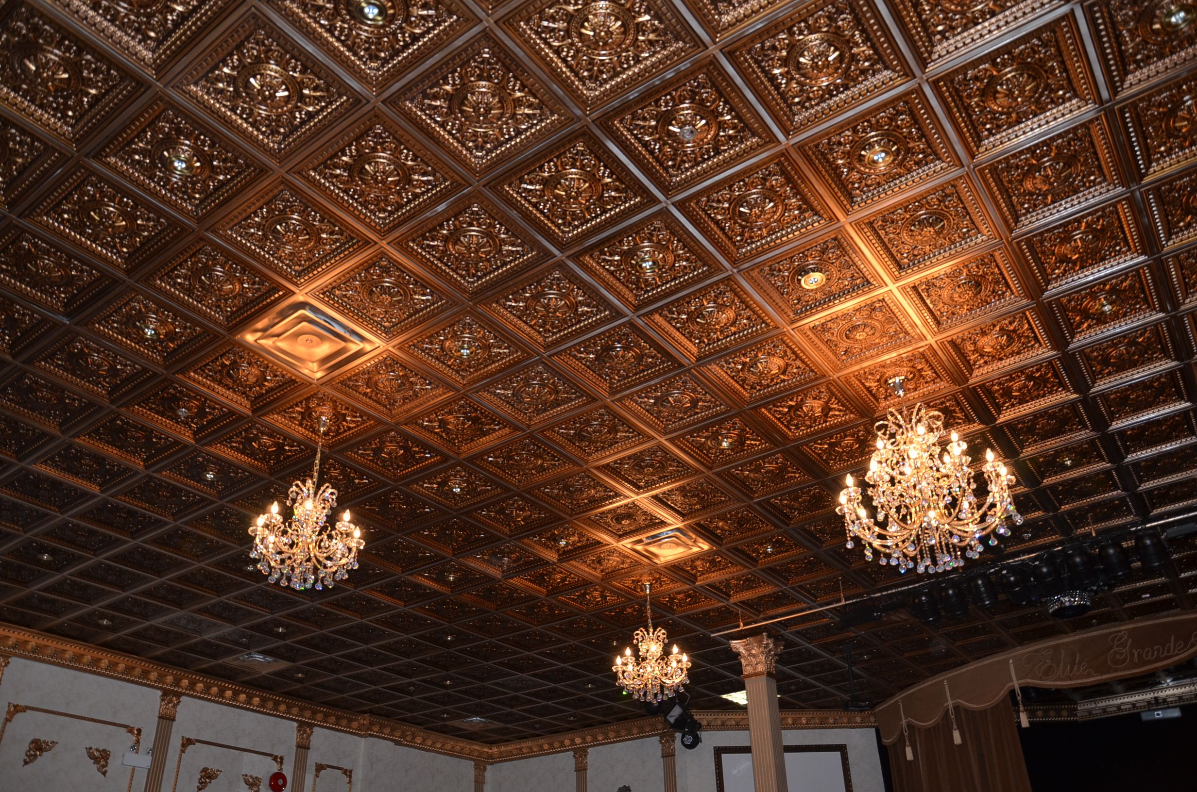 Coffered pvc faux tin ceiling tiles model 215 antique copper elite coffered pvc faux tin ceiling tiles model 215 antique copper elite grande banquet dailygadgetfo Images