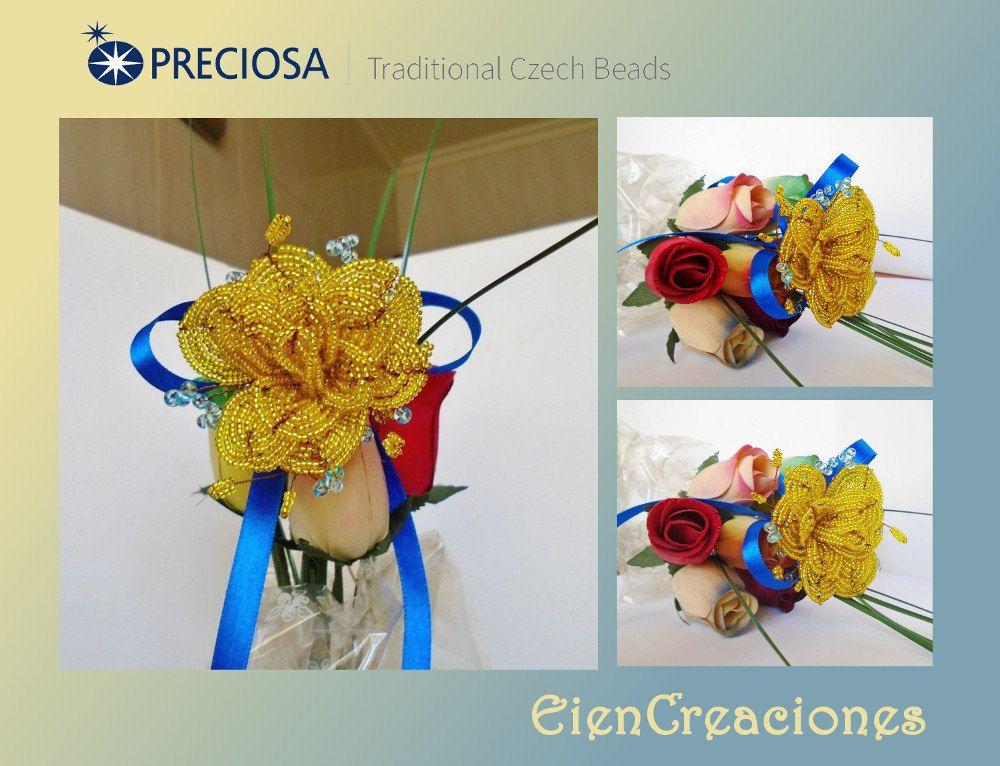 https://flic.kr/p/J7t8RL | Flor de rocallas | Esta es mi aportación al PRECIOSA My Czech Beads 2016 competition de los meses de mayo y junio, con los temas Love Time o Wedding y la técnica de las flores. He utilizado rocallas preciosa 11/0 en color amarillo y unas cuantas en color azul del 8/0 para darle un toque extra de color. Espero que os guste. www.preciosa-ornela.com/ www.facebook.com/PreciosaOrnela