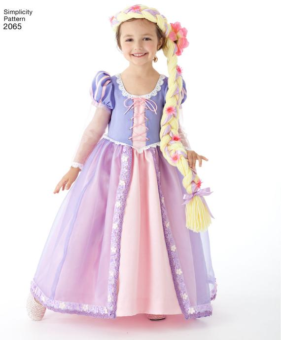 29cc1e94d Official Licensed DISNEY Princess Rapunzel Tangled Cosplay Costume SEWING  Pattern, Simplicity #2065,