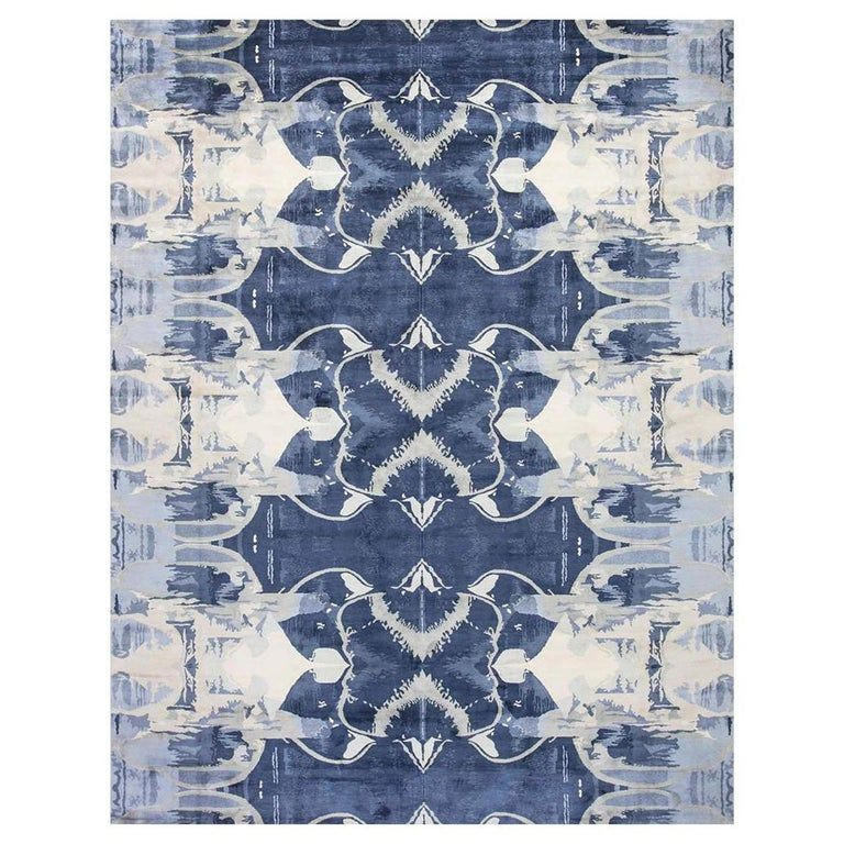 Contemporary Blucie Designed Hand Knotted Silk Rug In 2020 Rugs On Carpet Rugs Modern Rugs