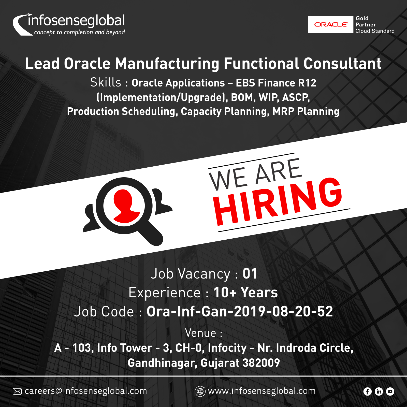 Lead Oracle Manufacturing Functional Consultant Cash Management Job Opening Capacity Planning