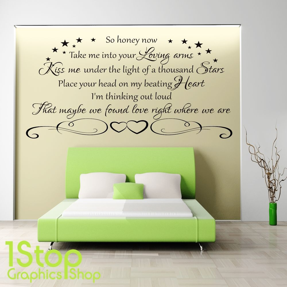 ED SHEERAN THINKING OUT LOUD WALL STICKER QUOTE LOUNGE WALL ART - Bedroom wall decals uk