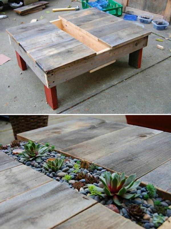 50 id es pour une table basse avec palette table basse - Fabriquer une table basse en palette ...