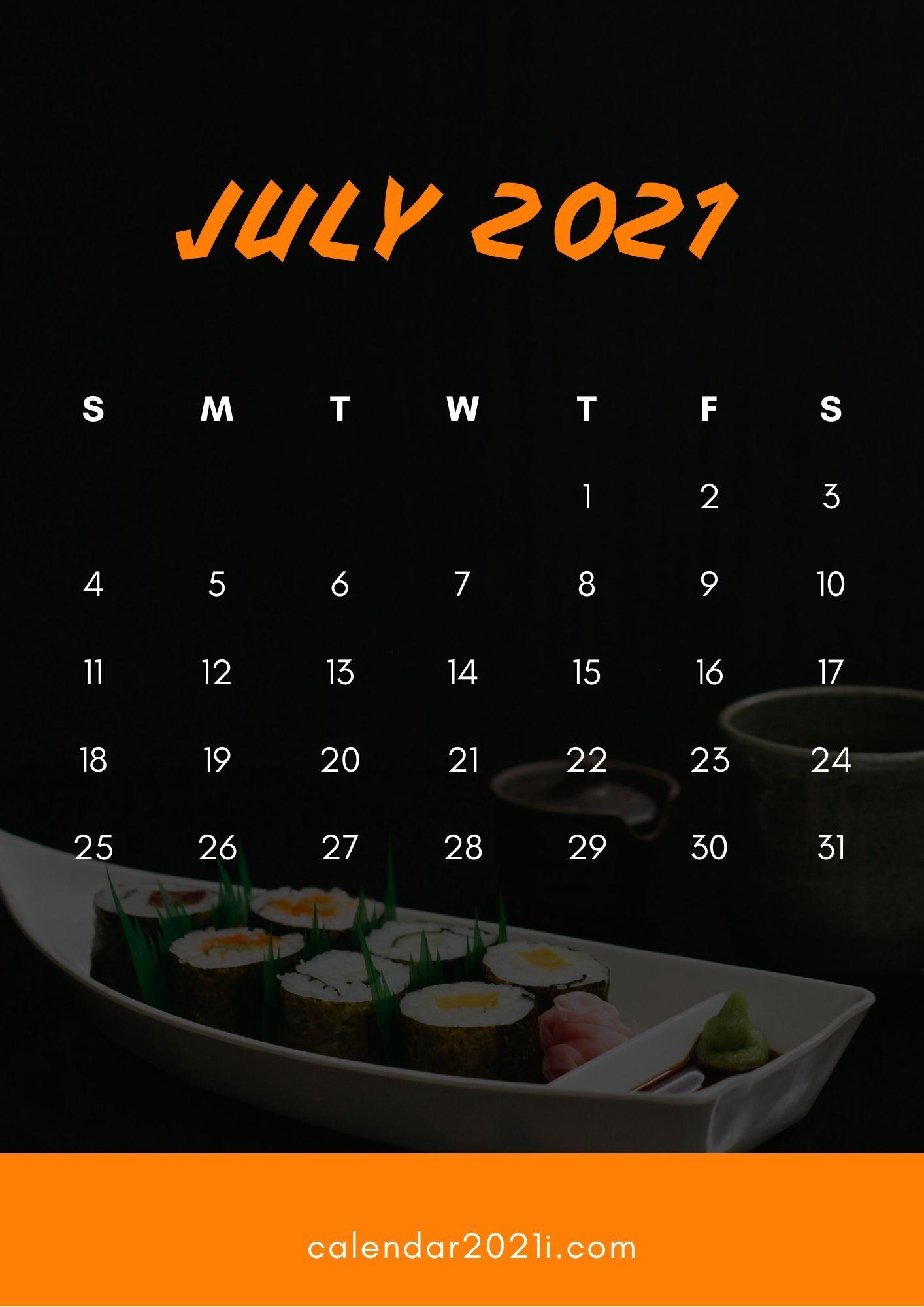 July 2021 Wallpaper Calendar July 2021 Calendar HD Wallpaper for iPhone background | Calendar