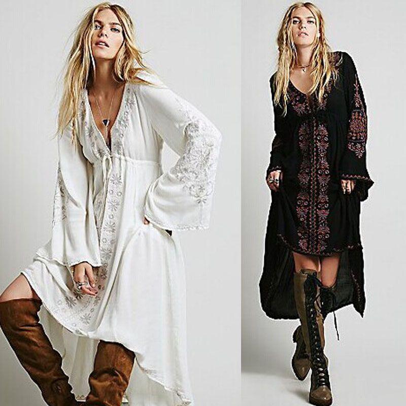 382798f5b Barato Frete grátis mulheres Vintage flor étnico bordado algodão túnica  Casual vestido longo Hippie Boho pessoas Asymmetric alta baixa