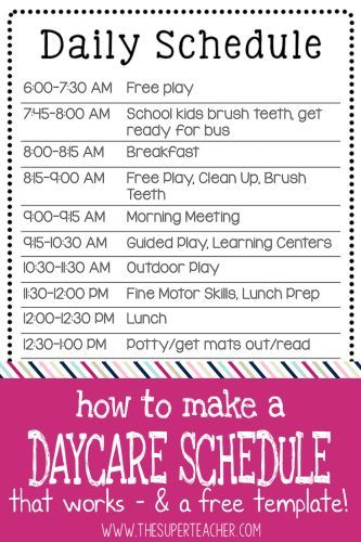 How to Make a Daycare Schedule that Works Free Template - school schedule template