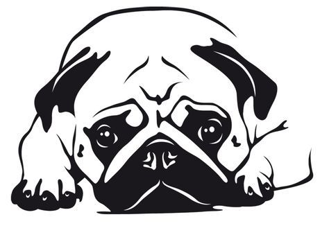 Wandtattoo Mops 6 Dogs Painting Pugs Stencil Painting Und Dog