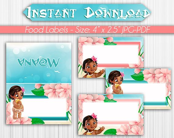 food tent labels baby moana instant download blank first