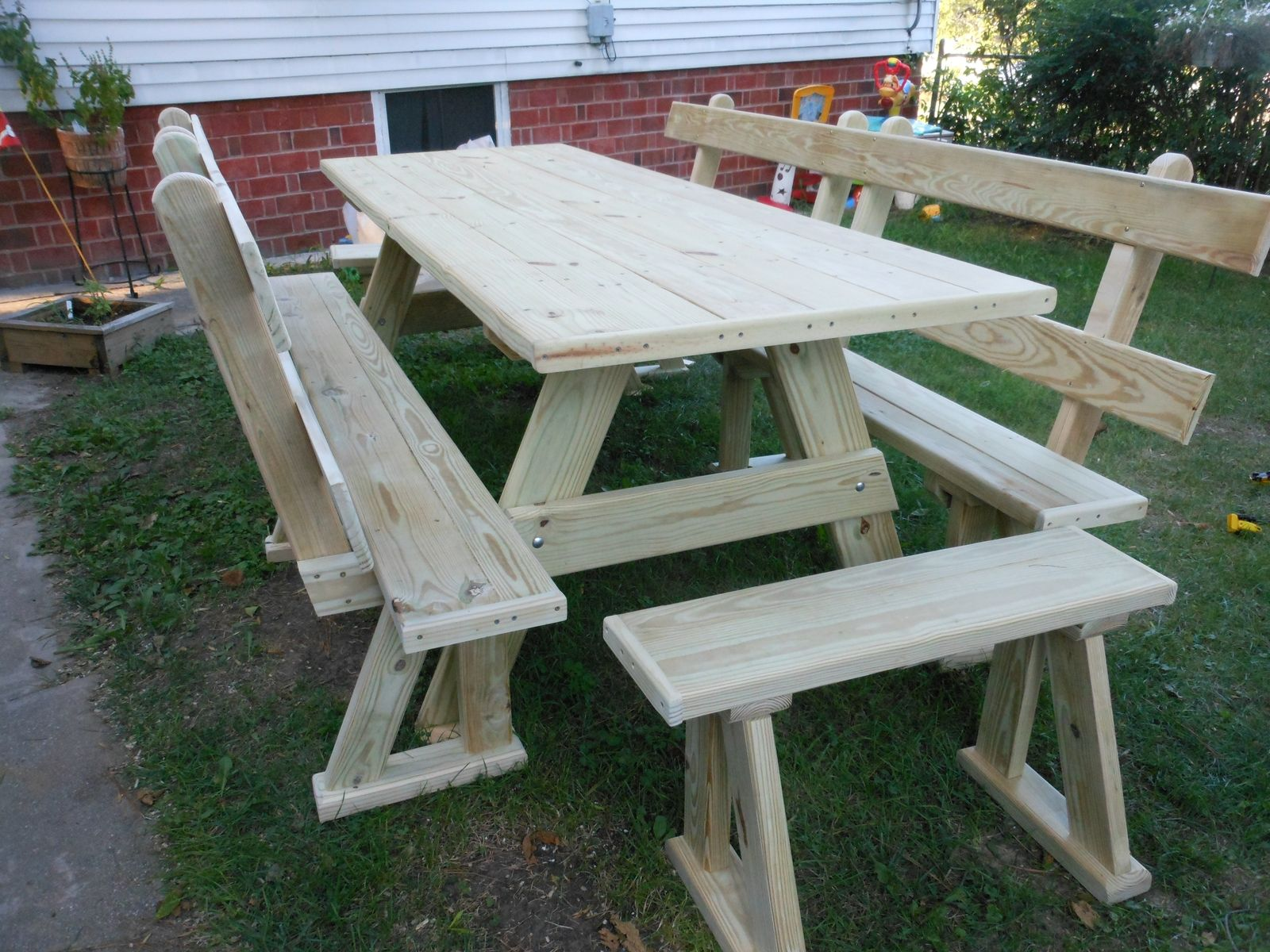 Custom Made Picnic Table With Benches With Backs By Davis Family Creations