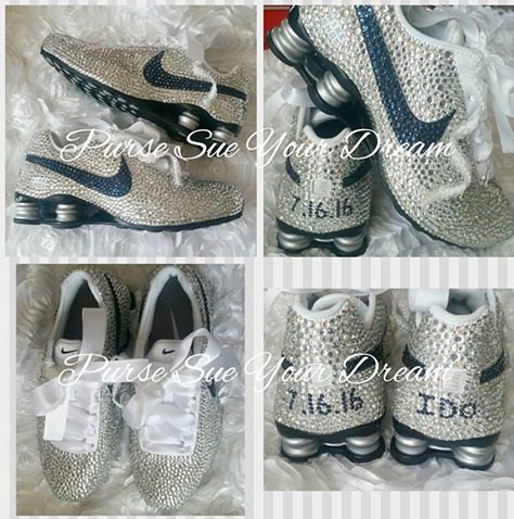 Custom Swarovski Crystal Designed Nike Shox Shoes - Swarovski Crystal  Designs - Custom Bridal Nikes - Rhinestone Nike Shoe - Wedding Nikes