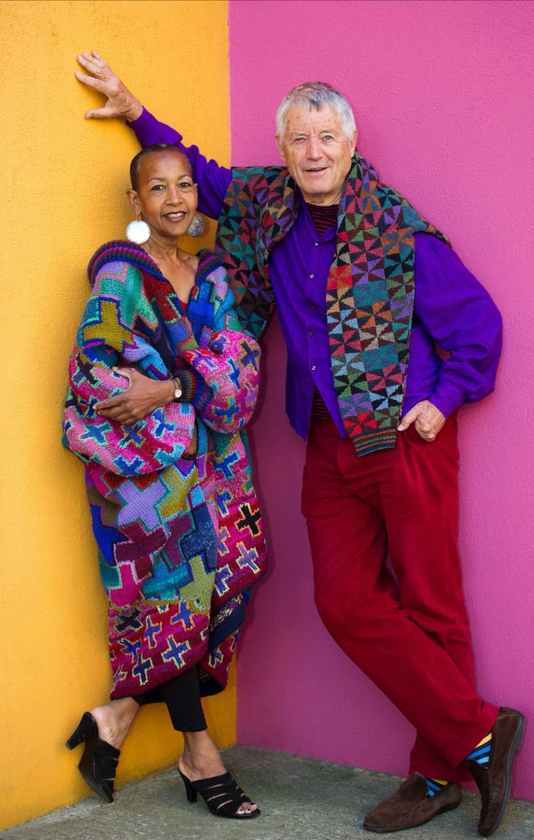 Kaffe Fassett And Marsha Hunt At The Fashion And Textile