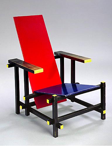 Gerrit rietveld chaise rouge et bleue 1918 design for Chaise rouge et bleue
