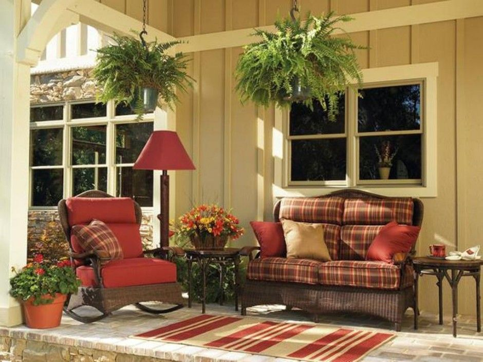 Charming Exterior Fetching Diy Patio Designing Ideas And Red Outdoor Floor Lamp Also  Plaid Wicker Chair Pad