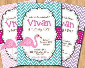 Flamingo Birthday Invitation. Girl Flamingo Birthday Party Invite. Turquoise, Purple Chevron, Hot Pink Polka Dots. Printable Digital DIY.