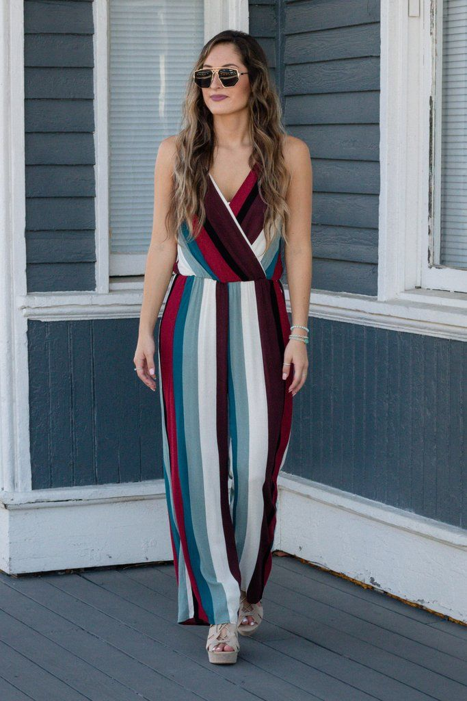 d3681a86eed Fun Striped Jumpsuit- Colorful Fall Jumpsuit- Women s Trendy Jumpsuit-  45-  Juliana s Boutique