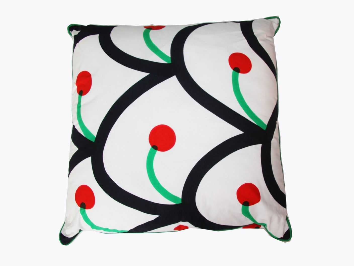 pillows ciliegie rosso cherry print design in shades of black