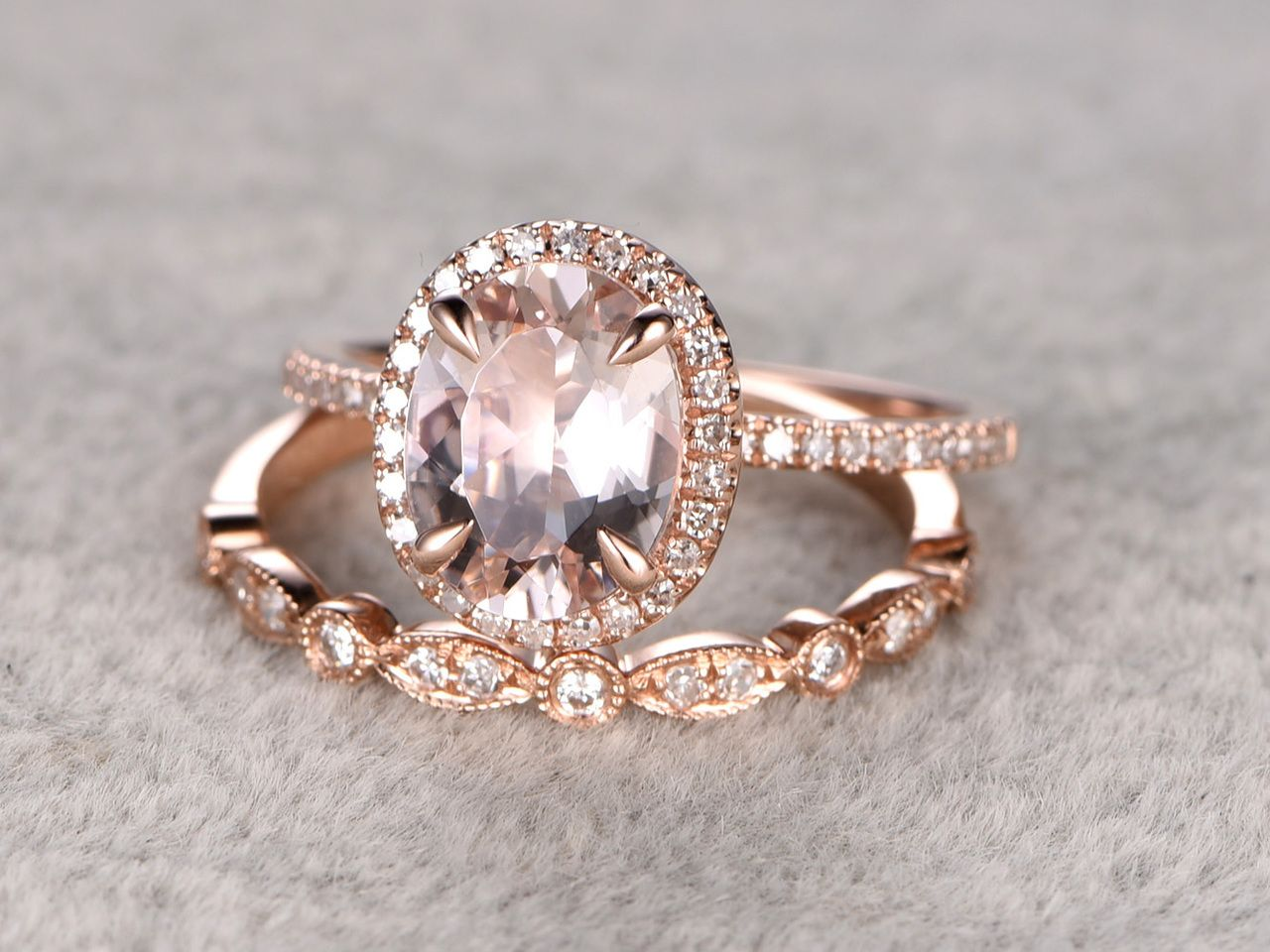 18 to 2 carat oval morganite wedding set diamond bridal ring 14k rose gold halo art - Morganite Wedding Ring