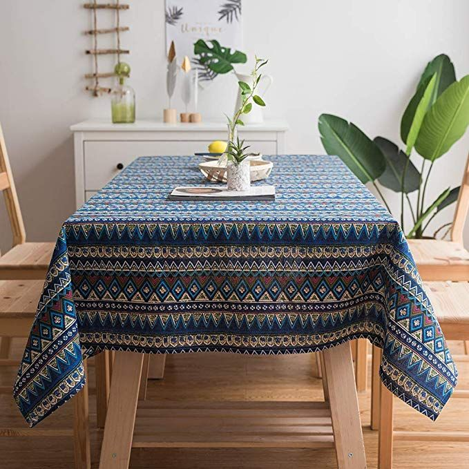 gravan bohemian tablecloth for rectangle tables heavyweight cotton linen boho style table cover on boho chic kitchen table id=24113