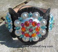 Confetti Distressed Leather Bling Bracelet www.rodeoenvy.com