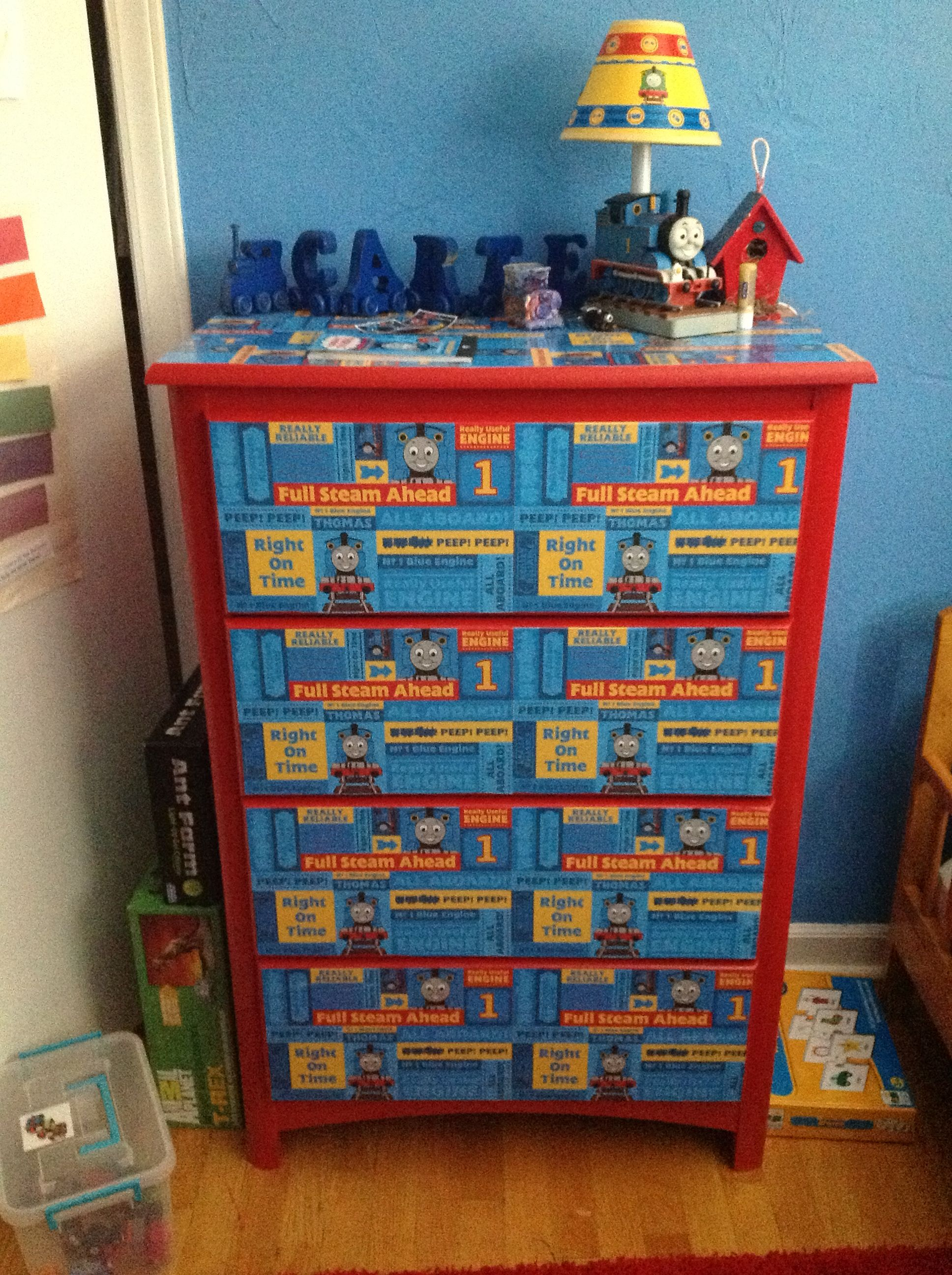 Thomas the train full size sheets - I Made This Thomas The Train Dresser For Carter