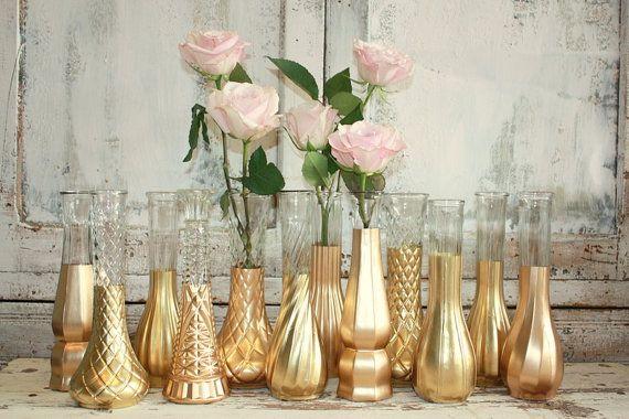 Rose Gold Vases Gold Wedding Decor Set Of 12 Gold Dipped