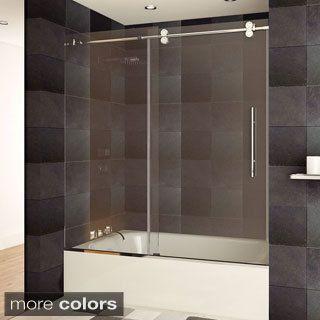 aston langham 60in x 60in completely frameless sliding alcove tub door in tub shower