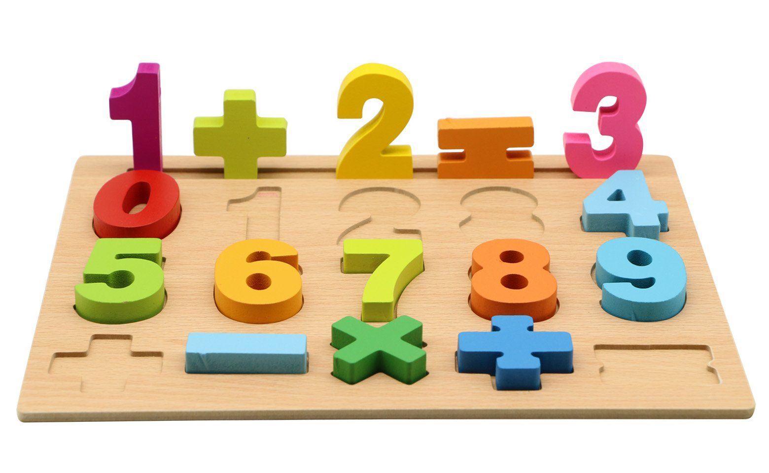 Motrent Stand Up Wooden Number Puzzle Board Toy For Kids With 10