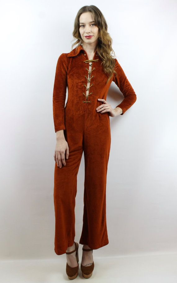d1397592fae4 Vintage 70s Rust Brown Velour Leather Lace Up Hippie Bell Bottom Jumpsuit