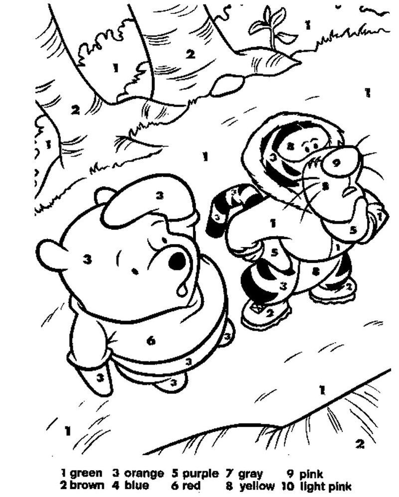 Kindergarten Color By Number Pooh Bear Color By Number Printable Disney Coloring Pages Coloring Books