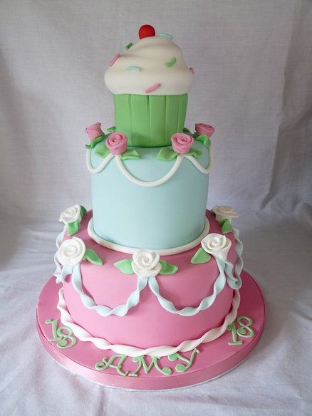 THREE TIERED CUPCAKE  Cake by Grace's Party Cakes