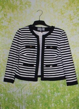 b4525d560 M S Woman navy blue and white striped nautical blazer jacket size UK ...