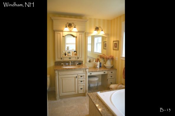 Bathroom Remodel  Furniture Style Vanity And Make Up Area Match Tub Deck  And Apron