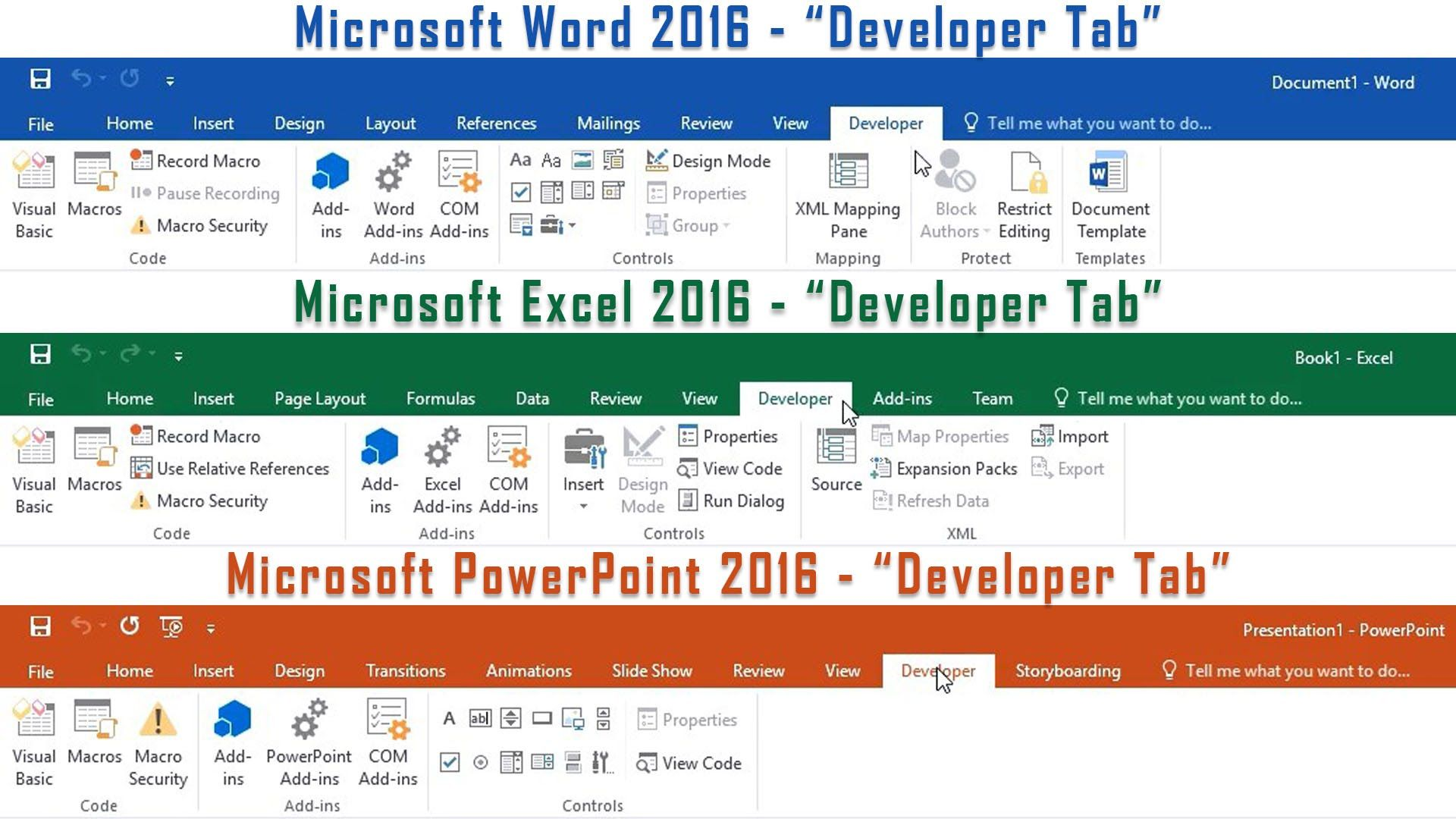 how to find developer tab in excel